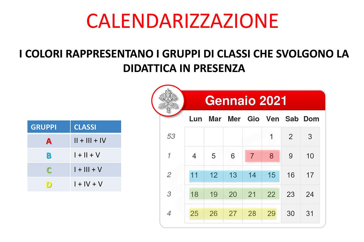 calendario didattica in presenza