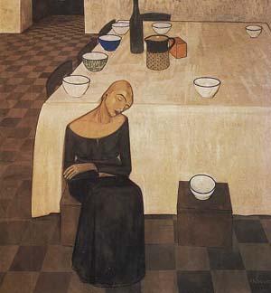 i morti a tavola attendono i vivi (Casorati - L'attesa)