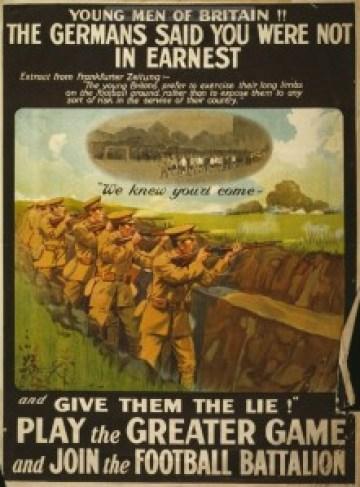 Afis de propaganda pentru Batalionul Fotbalistilor