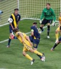 Ukraine's Shevchenko scores his second goal during game against Sweden at their Group D Euro 2012 soccer match at Olympic Stadium in Kiev