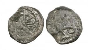 Moneda emisa de Vlad Dracul, având pe o parte simbolul Ordinului Dragonului.