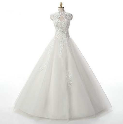 High Neck Ball Gown Wedding Dress Princess - Cheap Prom Dress ...