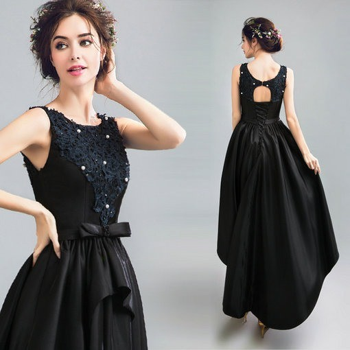 Black Cocktail Dress Prom Dress High Low Cheap Prom Dressevening