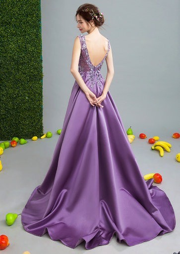 Purple Long Evening Dress Formal Evening Gown With Train - Cheap ...