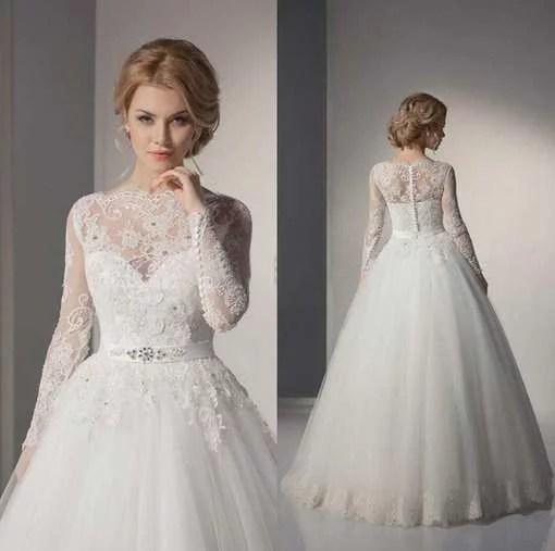 Long Sleeve Wedding Dress Off Shoulder Ball Gown - Cheap Prom Dress ...