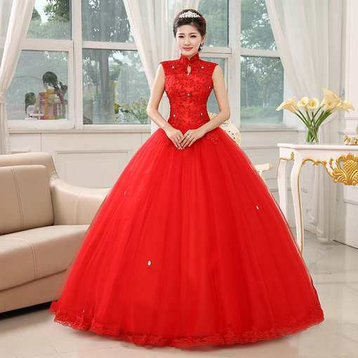 Stand Neck Wedding Dress Princess Two colors - Cheap Prom Dress ...