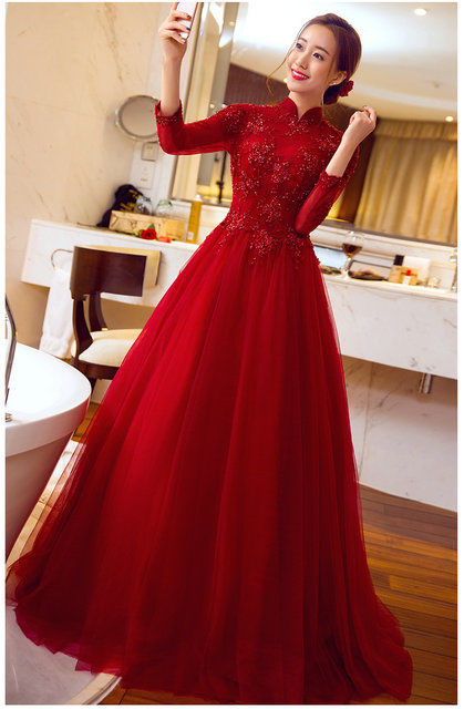A Line Long Sleeves Red Evening Dress Prom Dress Cheap Prom Dress