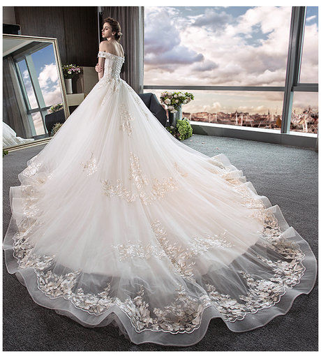 Off The Shoulder Princess Wedding Dress With Long Train - Cheap Prom ...
