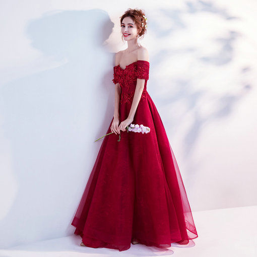 Off Shoulder A Line Red Evening Dress Online Shopping