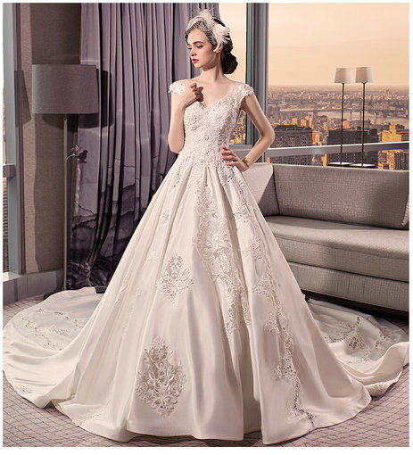 V Neck Wedding Dress Floor Length Long Train on sale - Cheap Prom ...