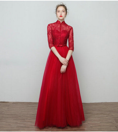 Red Evening Dress With Sleeve For Women Wholesale Cheap Prom Dress