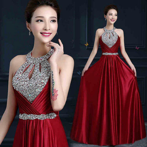 Halter Long A Line Evening Party Dress Red Black Blue Purple