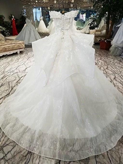 Off Shoulder Wedding Dress Haute Couture Ball Gown Lace Bridal Dress