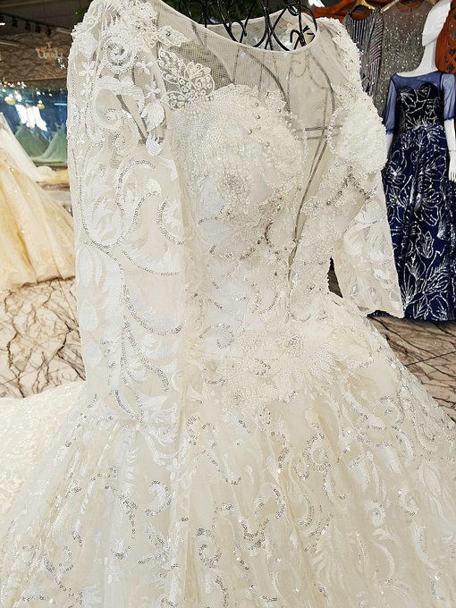 Haute Couture Lace Wedding Dress With Sleeve Long Train