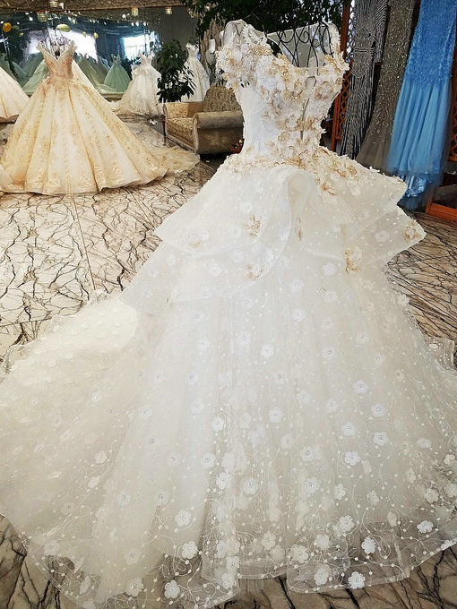 Ball Gown Wedding Dress Off Shoulder Haute Couture Bridal Dress