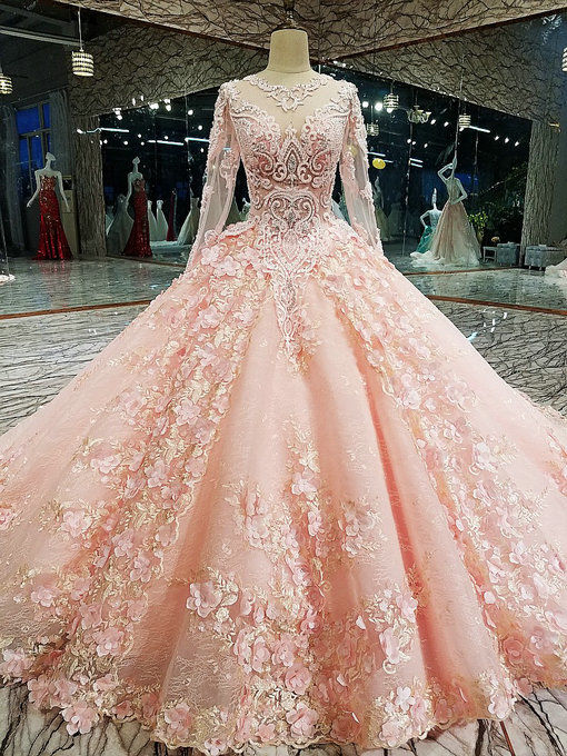 Haute Couture Pink Long Sleeve Wedding Dress Ball Gown Bridal Gown