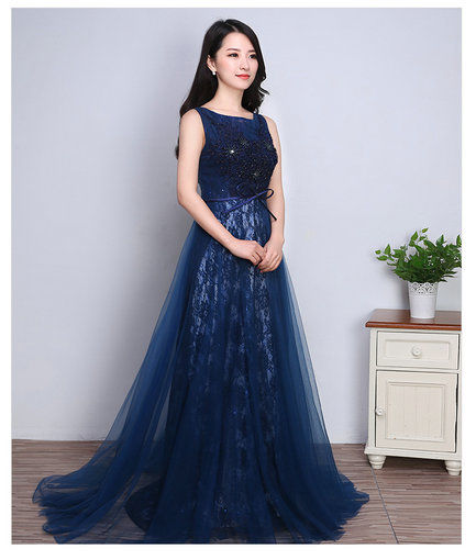 Blue Lace Evening Dress Formal Gowns Online Shopping