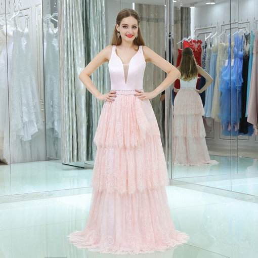 V Neck A Line Pink Lace Evening Gown Plus Sizes Online