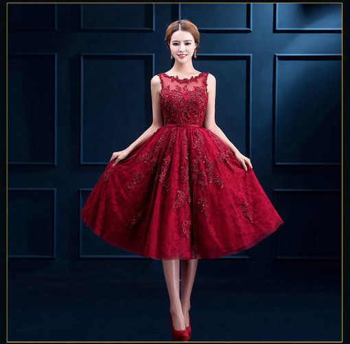 Red Lace Cocktail Dress A Line Short Prom Party Dress Wholesale