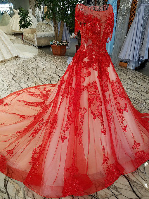 A Line Red Wedding Dress Haute Couture Bridal Dress With Train