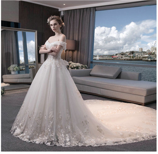 Princess Wedding Dress 2017 For Sale Floor Length Long Train Cheap