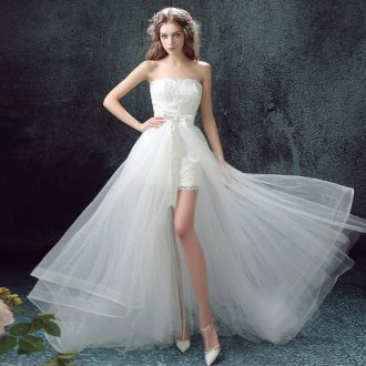 Strapless High Low Affordable Wedding Dress Simple under 100 affordable wedding dress 0552 04