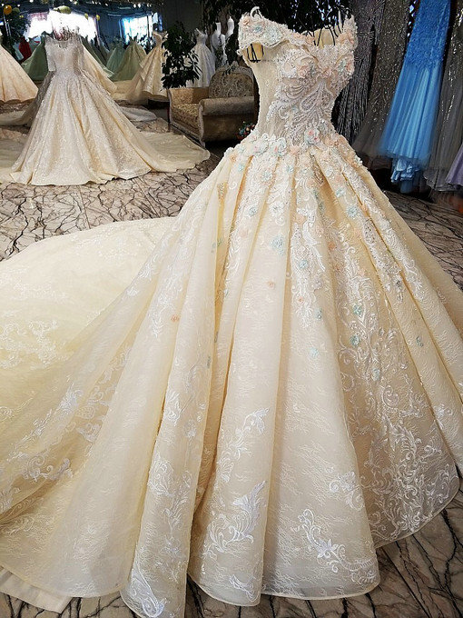 Off Shoulder Ball Gown Wedding Bridal Gown Plus Size Dress