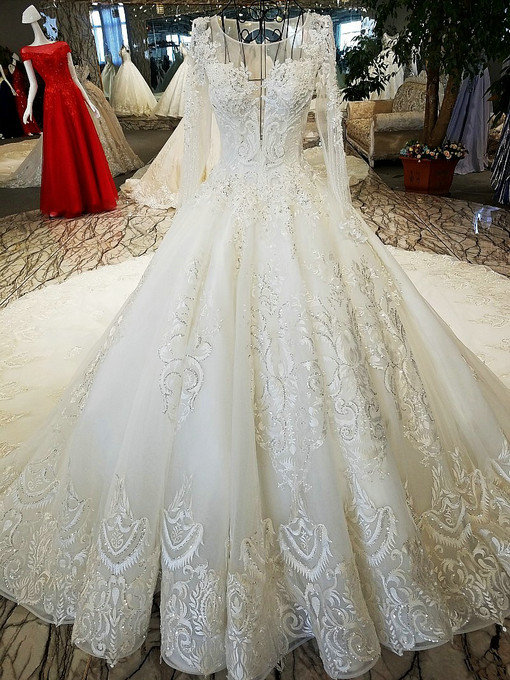 Ball gown long sleeve wedding dress hand made bridal gown for Long sleeve wedding dress for sale