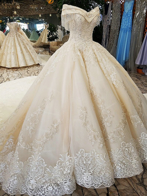Off The Shoulder Ball Gown Hand Made Gorgeous Wedding Dress