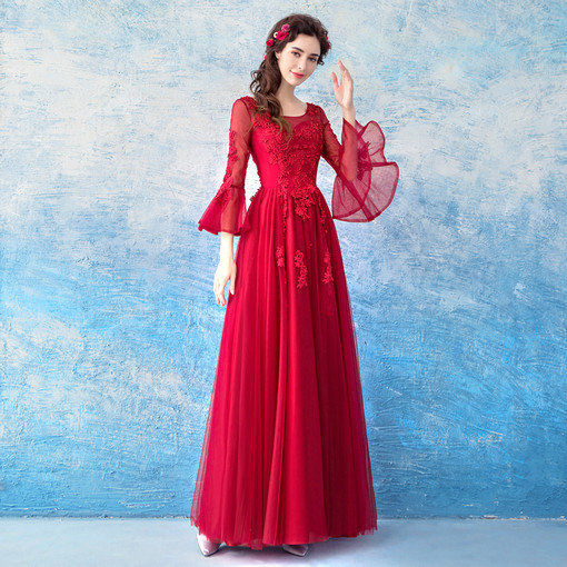 Long Sleeve Red Prom Dress Evening Party Dress Under 100