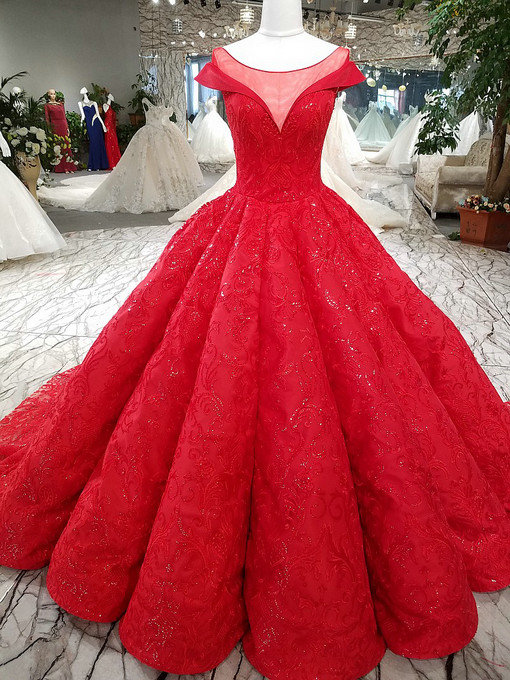 Haute Couture Red Wedding Dress Evening Gown