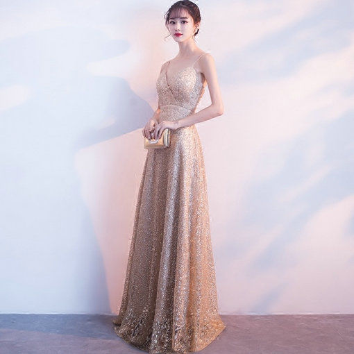 Gold Prom Dress A Line Strap Evening Gown Sale