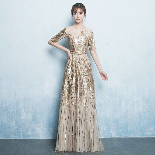 Prom Dress Gold Round Collar A Line 1/2 Sleeve Plus Size