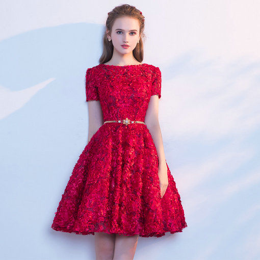 Short Prom Dress A Line Cocktail Dress Black Red Pink Colours