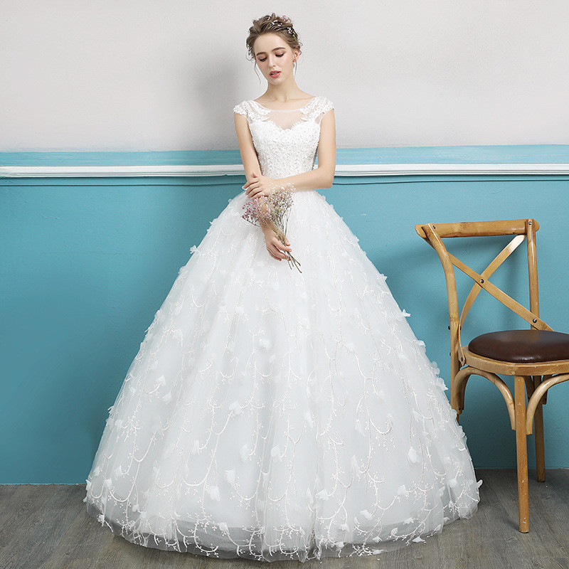 Wedding Dress Floor Length Ball Gown Off Shoulder Ivory