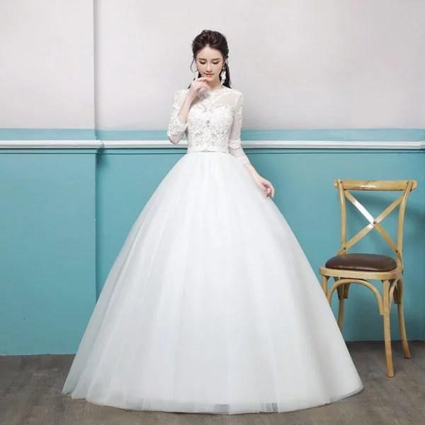 Wedding Dress Lace Sleeves Round Collar Ivory Girls Dress