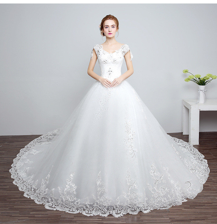 Wedding Dress Trains Lace A Line Short Sleeve Bridal Dress Sale
