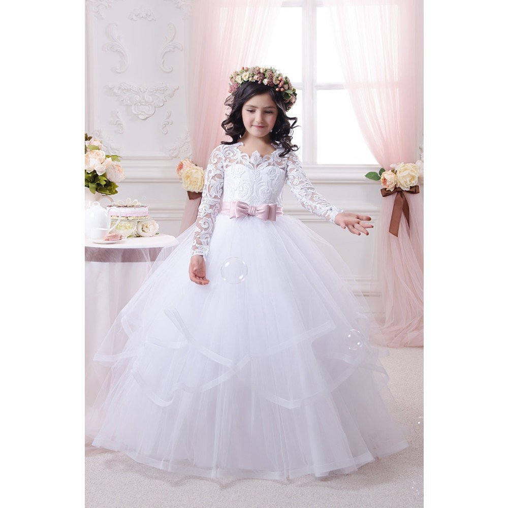 White Flower Girl Dresses Lace Long Sleeve Childrens Wedding Dresses