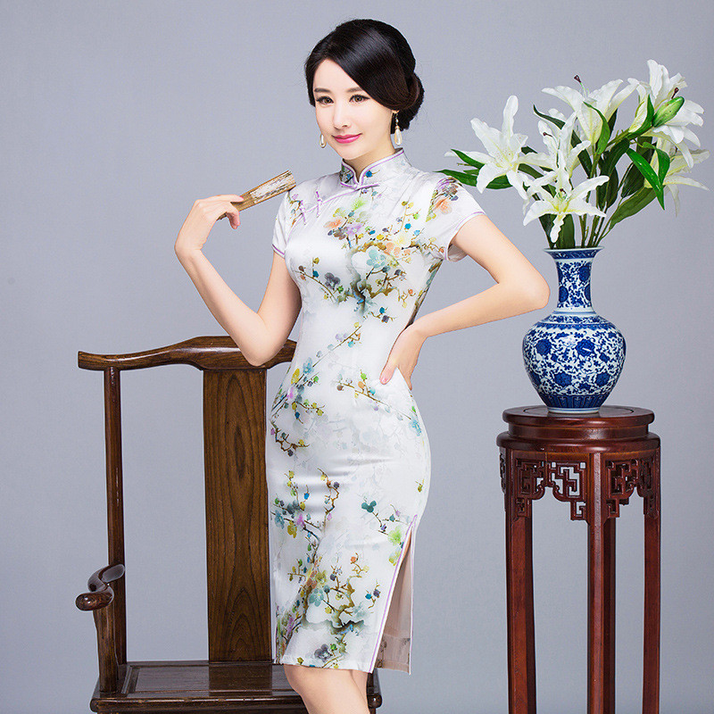 chinese dresses online printing summer slit party dress