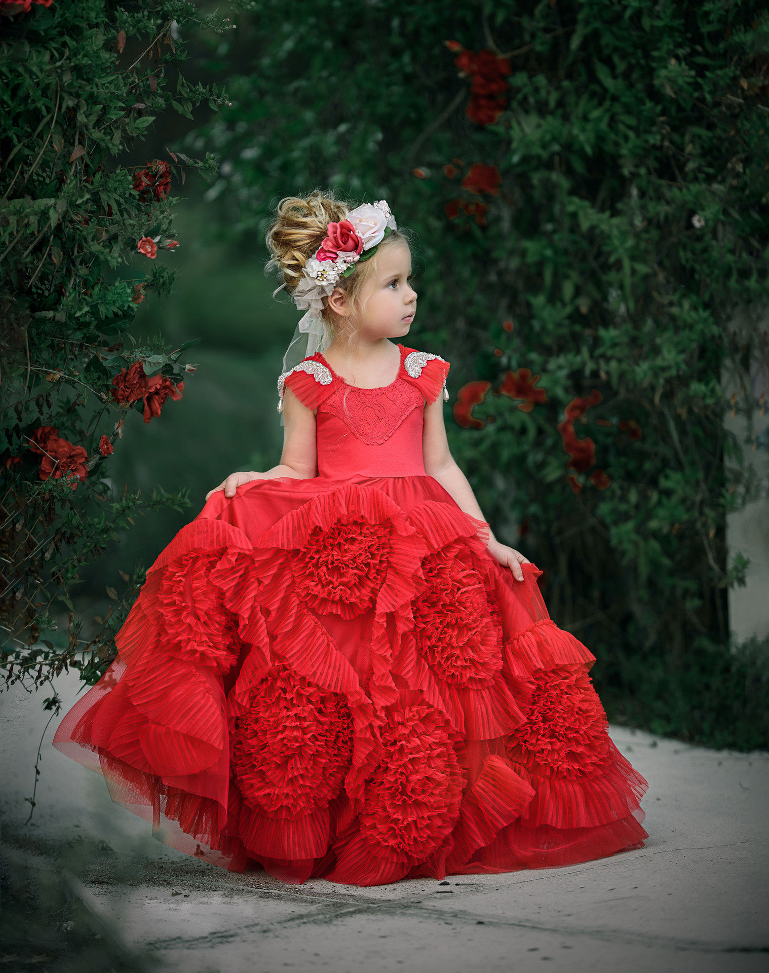Girls Floral Dress Red Ball Gown Floor Length Gowns For Girls