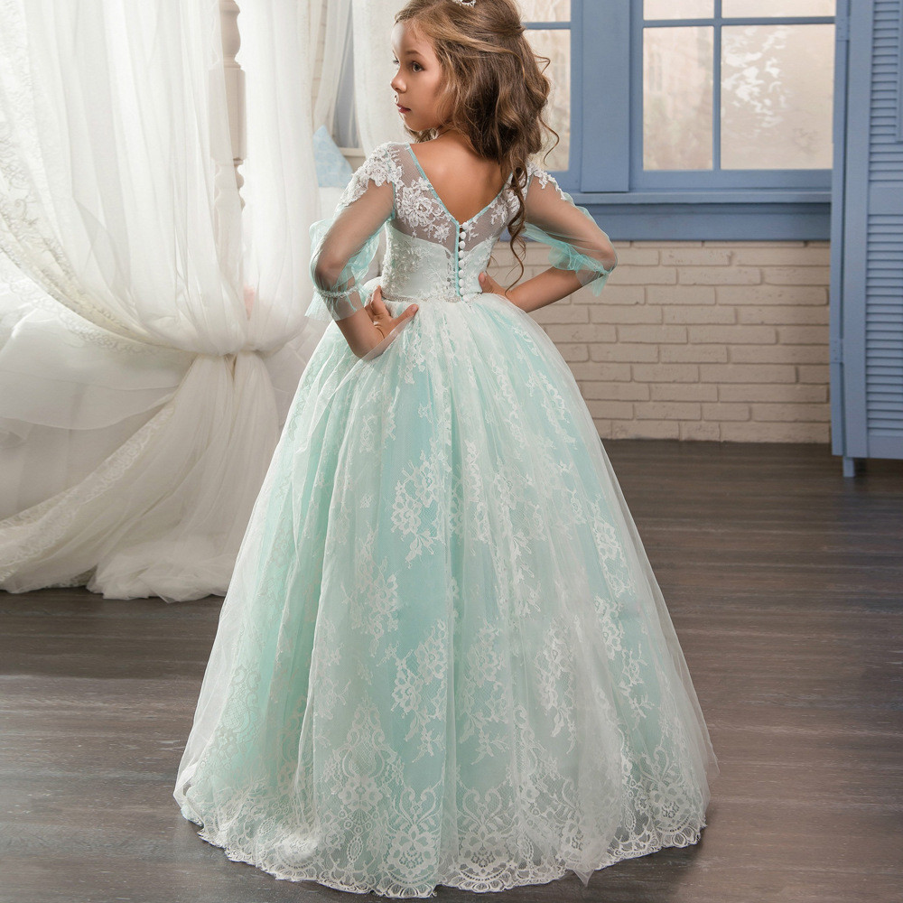 Lace Flower Girl Dresses Light Blue Ball Gown Long Sleeve