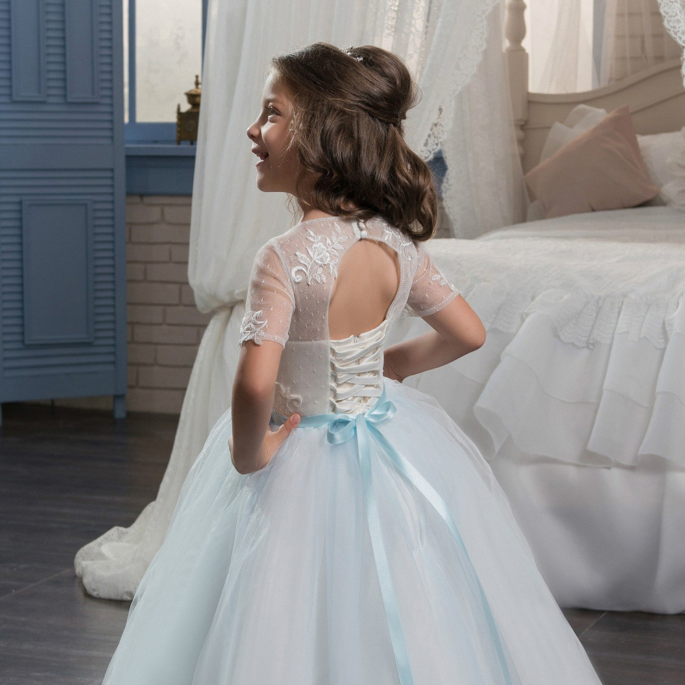 Light Blue Flower Girl Dresses Ball Gown Short Sleeve