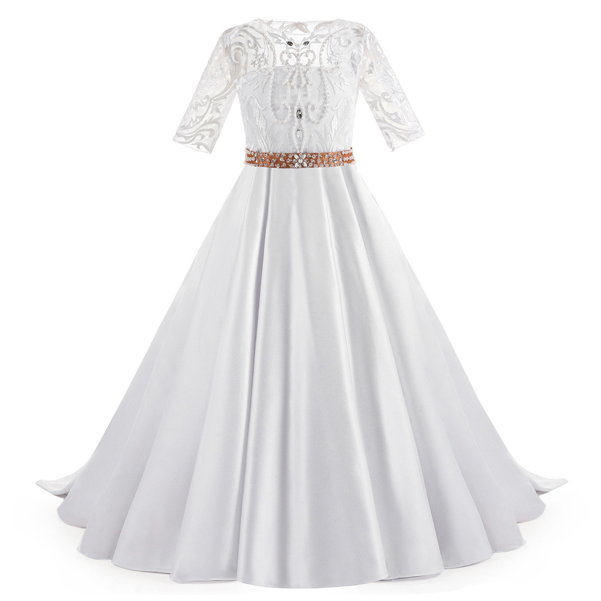 Vintage Flower Girl Dresses A Line Short Sleeve With Train