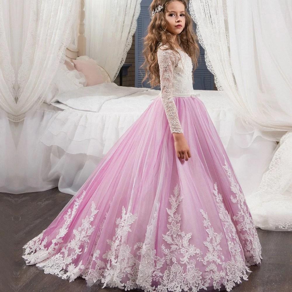 Wedding Flower Girl Dresses Pink Lace Long Sleeve