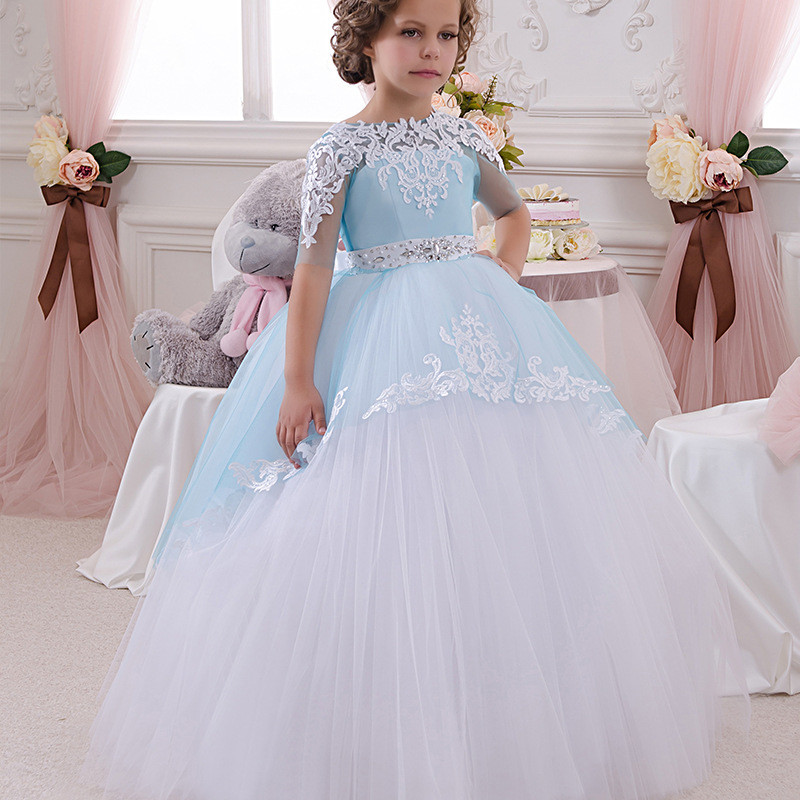 Flower Girl Gown White Light Blue Ball Gown Lace Girls Dress