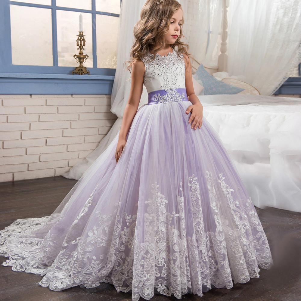 Purple and white flower girl dresses lace ball gown sale purple and white flower girl dresses 06480001 mightylinksfo