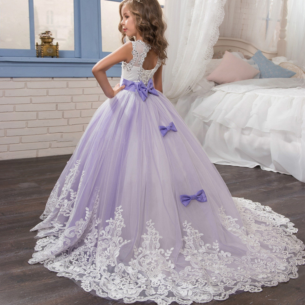 Purple and white flower girl dresses lace ball gown sale purple and white flower girl dresses 06480004 mightylinksfo