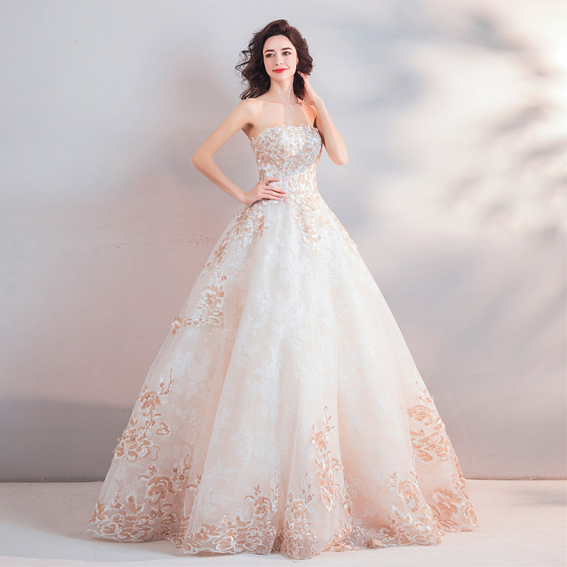 Ball Gown Wedding Dress Strapless White And Champagne