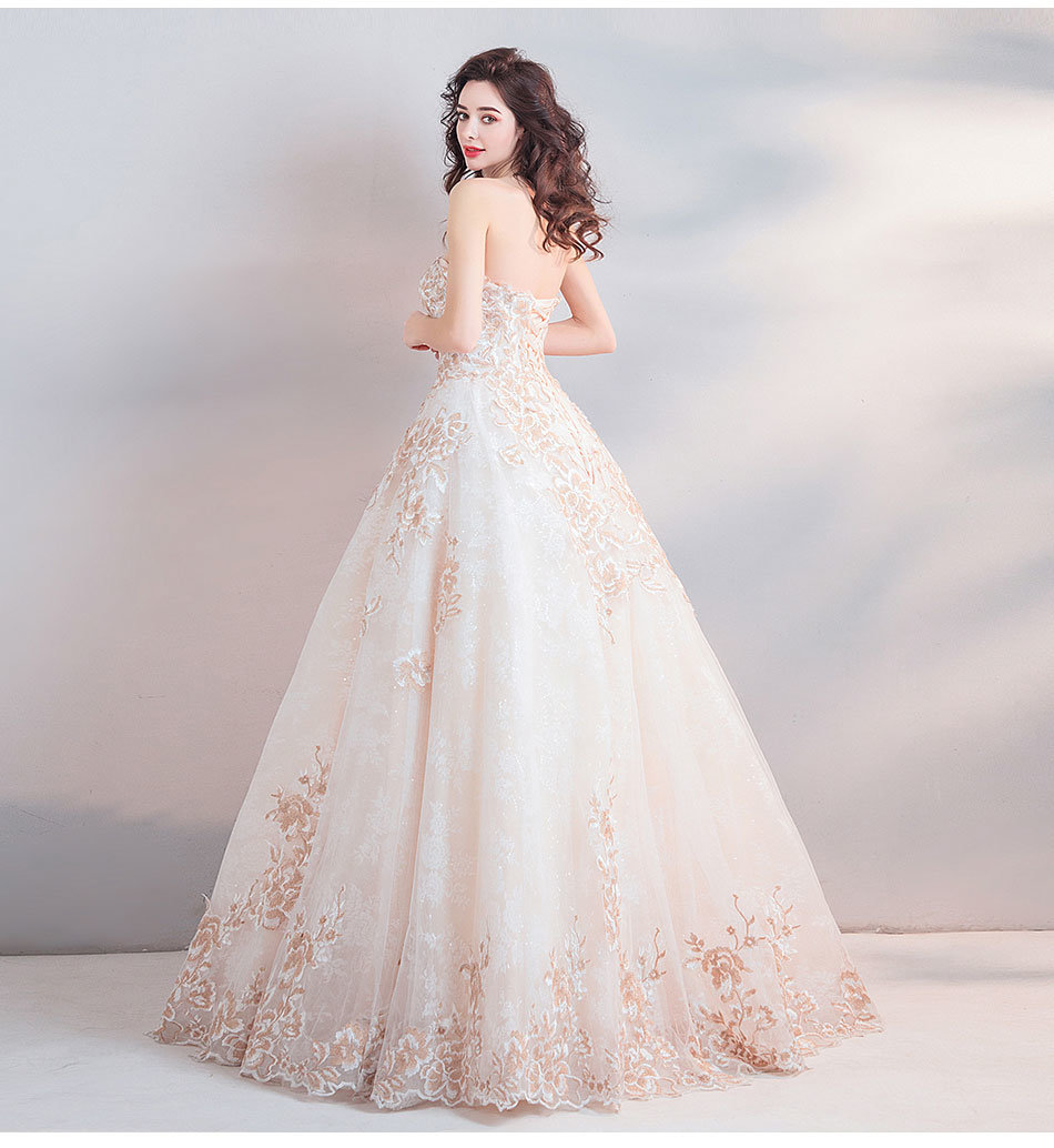 Champagne Ball Gown Wedding Dresses: Ball Gown Wedding Dress Strapless White And Champagne