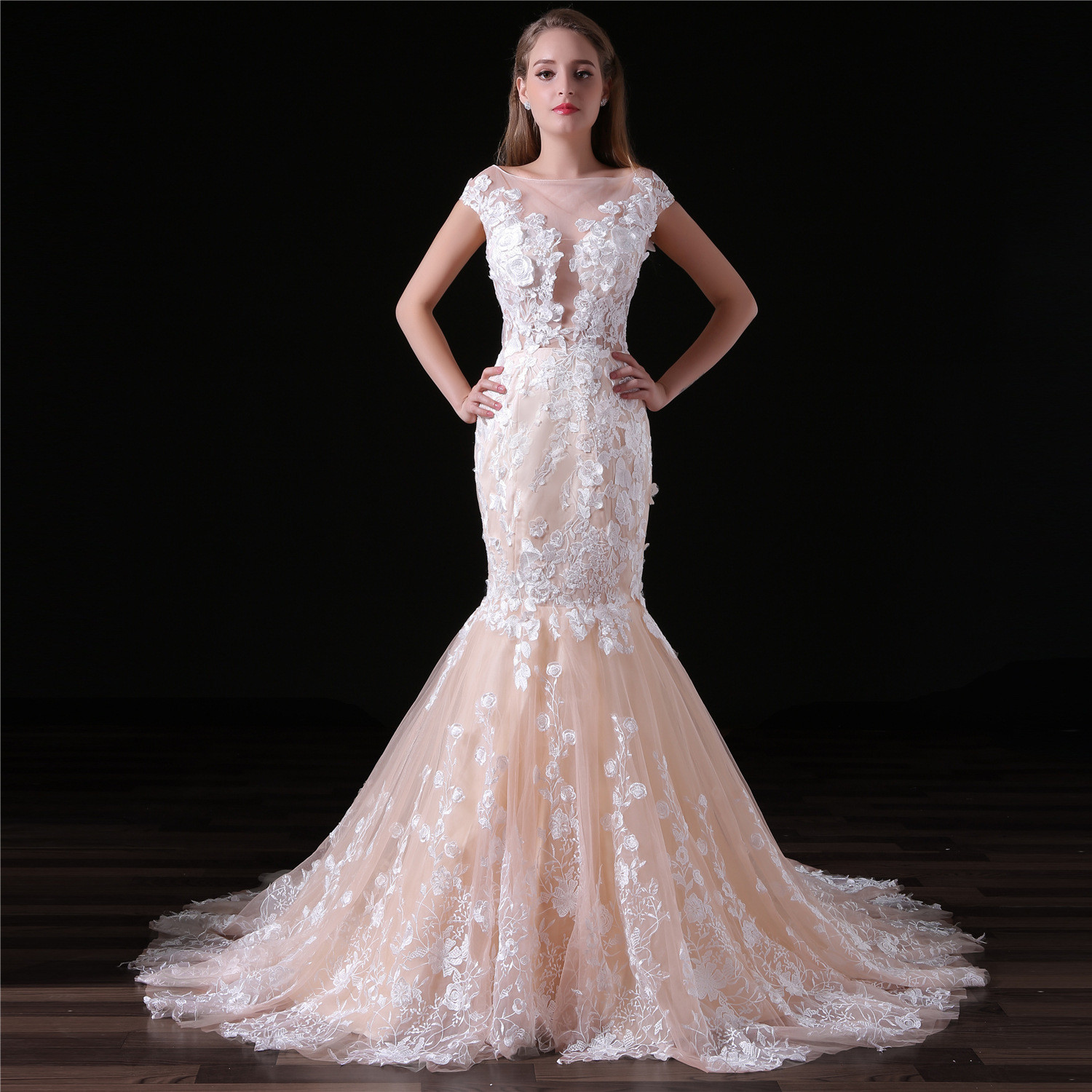 Champagne Mermaid Wedding Dress With Train Flowers